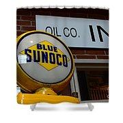 Blue Sunoco Globe Shower Curtain