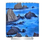 Blue Sunset At The Mermaid Reef Shower Curtain