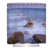 Blue Sunset At The Rocks Shower Curtain