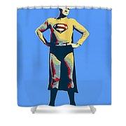 Blue Superman Shower Curtain