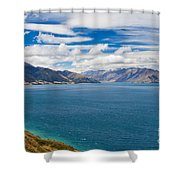 Blue Surface Of Lake Hawea In Central Otago Of New Zealand Shower Curtain