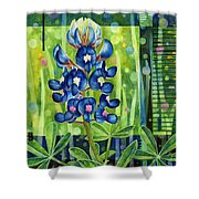 Blue Tapestry Shower Curtain
