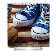 Blue Tennis Shoes And Baseball Shower Curtain