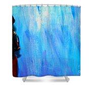 Blue Thinker Shower Curtain