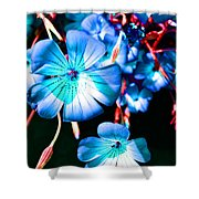 Blue Tint Flowers Shower Curtain