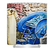 Blue Tractor Shower Curtain