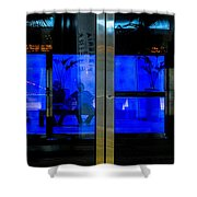 Blue Tram Windows Shower Curtain