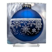 Blue Tree Ornament Shower Curtain