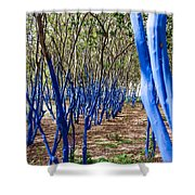 Blue Trees In Nature Shower Curtain