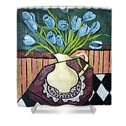 Blue Tulips On Octagon Table Shower Curtain