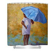 Blue Umbrella Shower Curtain