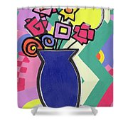 Blue Vase Shower Curtain by Bodel Rikys