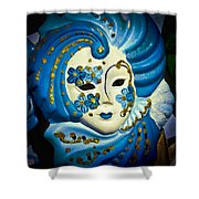 Blue Venetian Mask Shower Curtain