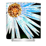 Blue Vexel Flower Shower Curtain