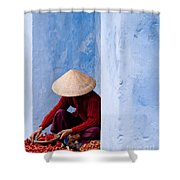 Blue Wall Hawker 02 Shower Curtain