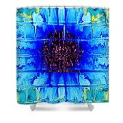 Blue Wallflower Abstract Shower Curtain
