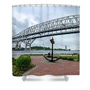 Blue Water Bridge Anchor Shower Curtain