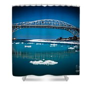 Blue Water Bridge Reflection Shower Curtain