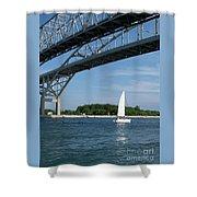 Blue Water Bridge Sail Shower Curtain