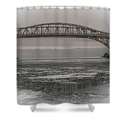 Blue Water Bridges Shower Curtain