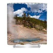 Blue Water White Steam Shower Curtain