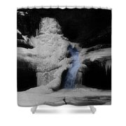 Blue Waterfall Frozen Landscape Shower Curtain by Dan Sproul