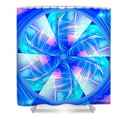 Blue Wheel Inflamed Abstract Shower Curtain