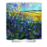 Blue Wild Chicorees Shower Curtain by Pol Ledent