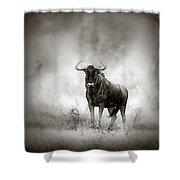 Blue Wildebeest In Rainstorm Shower Curtain
