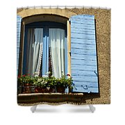Blue Window And Shutters Shower Curtain