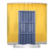 Blue Window Shower Curtain