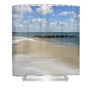 Blue Winter Sea And Sky Shower Curtain