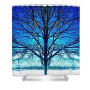Blue Winter Tree Shower Curtain