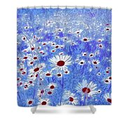 Blue With White Daisies Shower Curtain