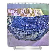 Blue Woven Basket Shower Curtain
