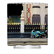 Blue Yellow Sporty Motorcycle Parked On Pavement Shower Curtain