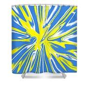 Blue Yellow White Swirl Shower Curtain