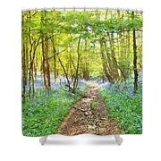 Bluebell Wood Watercolour Shower Curtain