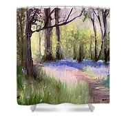 Bluebells At Dusk Shower Curtain