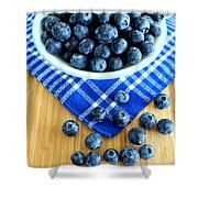 Blueberries And Blue Napkin Shower Curtain