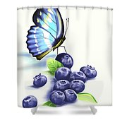 Blueberries And Butterfly Shower Curtain
