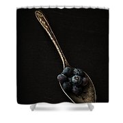 Blueberries On Silver Spoon Shower Curtain