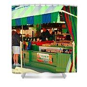 Blueberries Strawberry Jam Baskets Ferme Racine Petits Fruits Jean Talon Market Scene Carole Spandau Shower Curtain