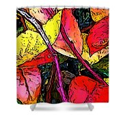 Blueberry Autumn Leaves Shower Curtain