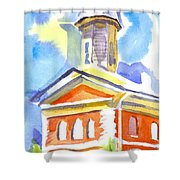 Blueberry Courthouse Shower Curtain