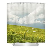 Blueberry Field And Goldenrod With Dramatic Sky In Maine Shower Curtain by Keith Webber Jr