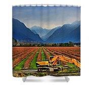 Blueberry Field Excavator Shower Curtain