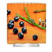 Blueberry Protesting Shower Curtain