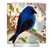 Bluebird Amid Apple Blossoms Shower Curtain