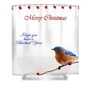 Bluebird Christmas Card Shower Curtain